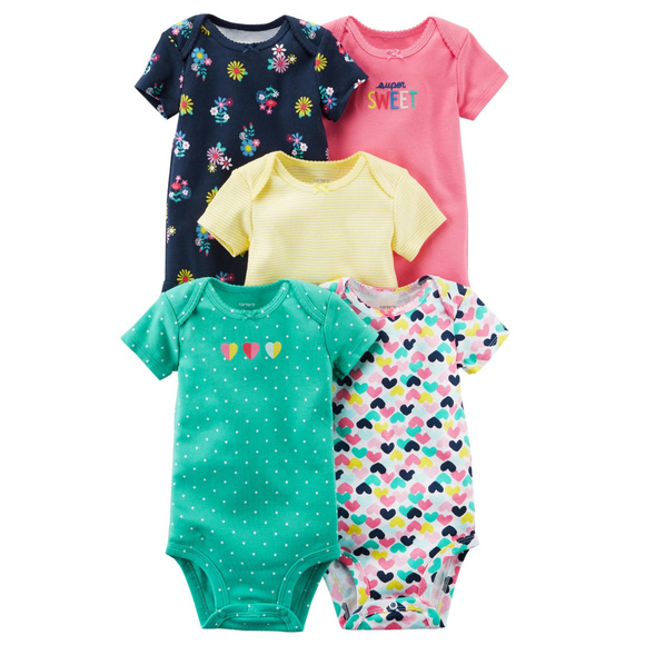 1718cb537 Carter's One Pieces | Carters Baby Girl 5pk Bodysuits Clothes ...